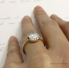 Jessica McCormack Round Brilliant Button-Back Engagement Ring {diamond, yellow gold, white gold}