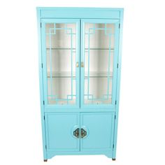 Large Turquoise and Ivory Chinoiserie Cabinet via Ivy & Vine