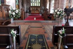 St. Mary's Great Budworth - Church wedding flowers - pedestal arrangements - laurel weddings - cheshire wedding flowers