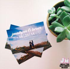 Personal save the date postcards | Jonalynn McFadden Design | www.jonalynnmcfadden.com  Engagement image by Cami Takes Photos | www.camitakesphotos.com