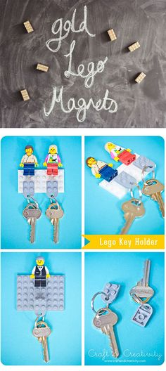 If you love toys from the AND you can never find your keys, this LEGO key holder DIY will blow your mind Lego Craft, Crafty Craft, Legos, Lego Key Holders, Diy And Crafts, Arts And Crafts, Craft Projects, Projects To Try, Diy Cadeau