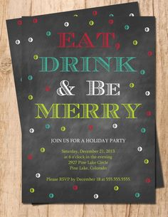 Chalkboard Eat, Drink & Be Merry JPEG or PDF Digital Holiday Party Invitation