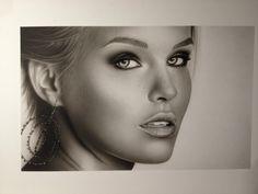 Bar Rafaeli Portrait Airbrush Painting on Illustrationboard