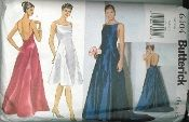 An original ca. 1999 Butterick pattern 6404.  Misses' Dress - Close-fitting, lined dress has shoulder straps, princess seams, back zipper.  A: slightly flared, below mid-knee.  B,C: flared, floor length.  C: attached pleated back train.