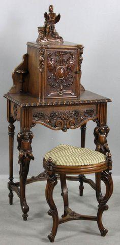 Antique Italian Walnut Phone Cabinet