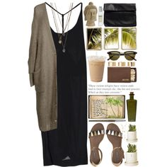 maxi dress + loose cardi + long layered necklaces + sandals + sunglasses (With images) Spring Outfits, Casual Outfits, Fashion Outfits, Polyvore Outfits, Looks Style, Style Me, Boho Mode, Inspiration Mode, Fashion Clothes
