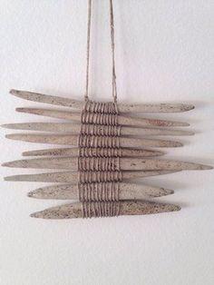 Gallery — Amy Dov Studio Stoneware and linen 7 length 6 width Beach Crafts, Diy Crafts, Decoration Shabby, Driftwood Crafts, Driftwood Mobile, Driftwood Wall Art, Wall Wood, Weaving Art, Ceramic Jewelry