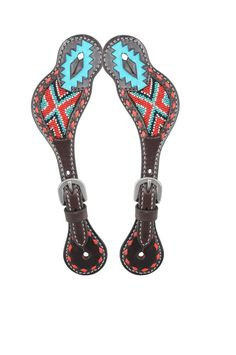 cowgirl turquoise bling spur straps rodeo rags. Black Bedroom Furniture Sets. Home Design Ideas