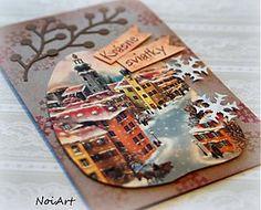 Papiernictvo - Vianočná pohľadnica, Zimné mestečko - 3349472