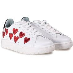 341cb4c14b7 Roger Leather Sneakers With Glittered Hearts (12.980 RUB) ❤ liked on Polyvore  featuring shoes