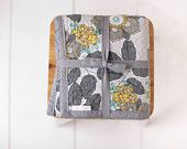 Chenille Baby Blanket/Floral Print/Gray, Teal, White and Chartreuse