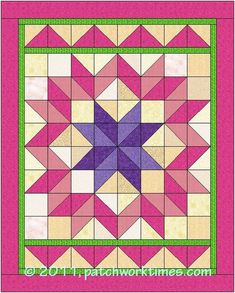 Carpenter's StarMary has detailed instructions on her site. For the purpose of our lesson making quilted feathers, below is a guide to the Carpenter's Star quilts I made. Make yours according to Mary directions or follow the guide below ...