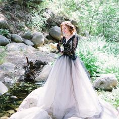 This Edgy Black Lace Wedding Inspiration from Luna de Mare features a gorgeous Elizabeth Mackenzie Designs dress. Puffy Prom Dresses, Prom Dresses Long With Sleeves, Elegant Prom Dresses, Black Wedding Dresses, Tulle Wedding, Wedding Gowns, Bridal Gowns, Wedding Frocks, Bridesmaid Dresses