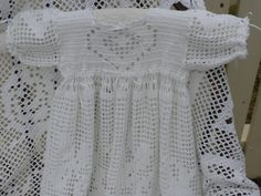 White Filet Crocheted Christening Gown Set for Baby Girl - Made to Order. $700.00, via Etsy.