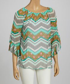 Take+a+look+at+the+Mint+Zigzag+Bell-Sleeve+Top+on+#zulily+today!