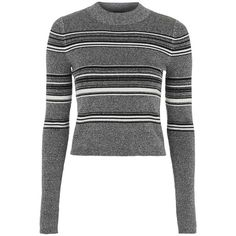 Petite Topshop Stripe Crop Sweater found on Polyvore featuring tops, sweaters, grey multi, petite, long sleeve sweaters, mock neck crop top, petite sweaters, mock neck sweater and crop top