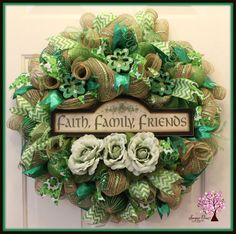 St Patricks Day Wreath St Pattys Day Wreath Door by SugarTreeDecor
