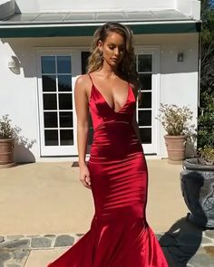 Hot Sexy Mermaid Deep V Neck Red Long Prom/Evening Dress sold by BeautyLady. Pink Wedding Guest Dresses, Prom Girl Dresses, Prom Outfits, Glam Dresses, Formal Dresses For Women, Girls Party Dress, Elegant Dresses, Sexy Dresses, Beautiful Dresses