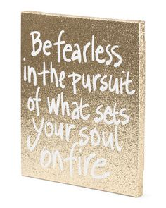 Be Fearless Gold Glitter Canvas