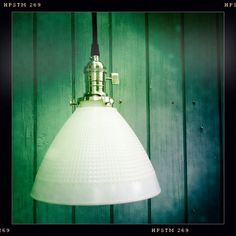 Vintage Farmhouse Cottage Milk Glass Pendant Light Lamp with Reclaimed Wood Canopy and Exposed Socket