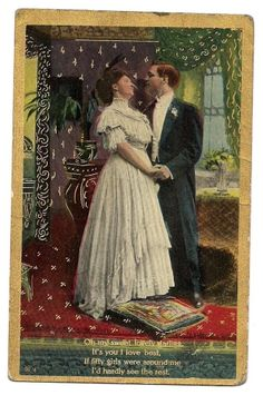 """Vintage Anglo Series American-Lovers """"Oh My Sweet Darling"""" Postcard-Gold/Gilt"""