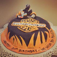 Birthday Cakes for Boys - The first Motorbike Harley Davidson Cake #flames #motorcycle #harley #harleydavidson #fire #biker #bike #boy #wheels #handle #headlights #orange #black #cake #atyummy #designercake #customisedcake #themecake #delhibakeries