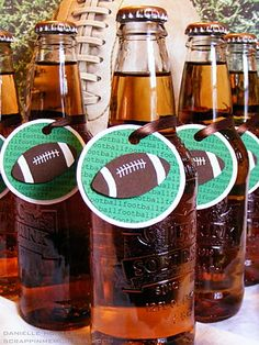 Super Bowl Party Idea: Add #DIY football tags on drinks for a fun #SuperBowl decor. Leave out some markers so guests can write their names on them too.