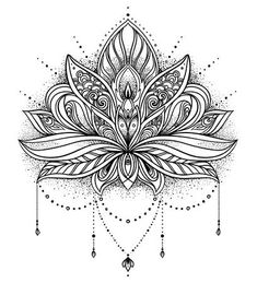 The Truth About Lotus Flower Tattoos Indian Is About To Be Revealed Geometric Tattoo Lotus, Lotus Mandala Tattoo, Lotus Flower Mandala, Lotus Flower Design, Geometric Tattoo Design, Art Lotus, Lotus Kunst, Mandalas Painting, Mandalas Drawing