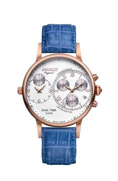 ADVOLAT CAPITAINE Dual Time, Stainless Steel Casing IP rose gold, Face white/rose, Leather Bracelet blue, Ref. 88001/1RG-L4 Stainless Steel Bracelet, Stainless Steel Case, Fort Knox, Limited Edition Watches, Time Zones, Italian Leather, Chronograph, Gold Face, Rose Gold