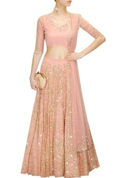 ASTHA NARANG Peach sequins and beads embroidered lehenga set available only at Pernia's Pop-Up Shop.: