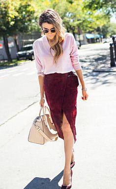 Burgundy Suede Skirt Fall Inspo