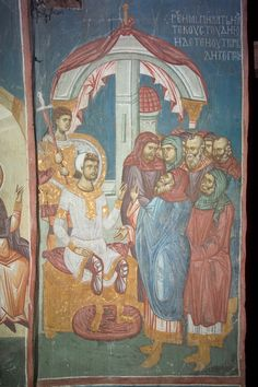 Pilate Commands that the Sepulchre Be Made Sure Visoki Decani Monastery Kosovo Serbia West Arch: 63 Fresco, Tempera, Life Of Christ, Mural Painting, Paintings, Best Icons, Byzantine Icons, Church Architecture, Holy Week