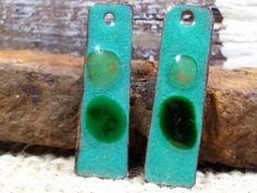 Copper Green and Emerald Enamel Earring Charm by BlueHareartwear