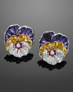 Amethyst,Yellow Sapphire and Diamond Pansy Earrings by Oscar Heyman Bros., 1963