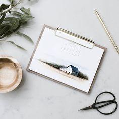 Open Spaces: 2020 Desk Calendar - Farmhouse Calendar with Clipboard Stand - Desk Calendar - Modern Farmhouse - Gold - 2020 - Christmas gift