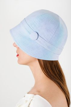 Women Summer hat for sun blue cotton cloche hat with small brim   bucket hat  1920 059597e93