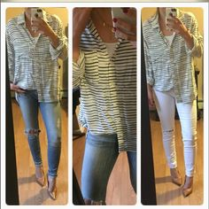 Soft navy striped blouse  Beautiful soft button down/ blouse. Very soft. Can be dressed up with a blazer or casually worn over jeans. Tops