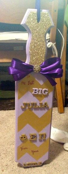 The paddle I made for my big! Phi Sigma Pi National Honors Fraternity!