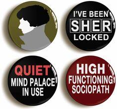 Set of four Benedict Cumberbatch Sherlock Holmes by PinItOnBadges