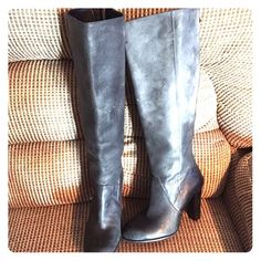 Grey Leather Boots Great condition. Worn twice Enzo Angiolini Shoes Heeled Boots