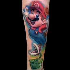 Raccoon Mario was introduced in Super Mario Bros. 3. He can float and attack enemies with his tail. Tattoo by Jamie Lee Parker. #inked #tattoo #supermariobrothers #mario #raccoon #videogame #viral
