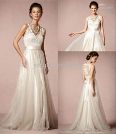 Wholesale High Quality V Neck Floor Length Soft Tulle Romantic Vintage Wedding Dress, Free shipping, $179.55/Piece   DHgate