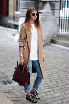 LFW Spring Summer 2015 Street Style Camel Coat, Leopard Brogues, Levis boyfriend jeans, Kurt Geiger bag, Cream knit