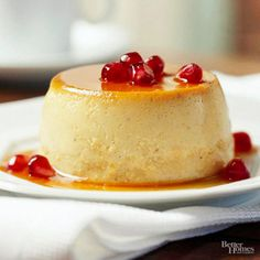 Another scrumptious alternative to Thanksgiving pumpkin pie, this creamy pumpkin dessert is sure to delight your guests. Pomegranate seeds make a beautiful topping./