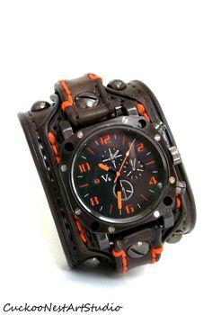 Men's watch, Leather Wrist Watch, Leather Cuff, Bracelet Watch, Watch Cuff, Brown with Orange stitching
