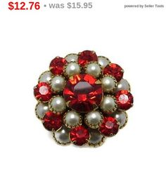 ON SALE Red Rhinestone Cocktail Ring Vintage Faux Pearl