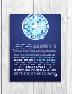 Printable Birthday Party Invitation - DISCO DANCE PARTY. love the clever text!