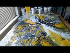 Shows how an abstract piece was created on a canvas using liquitex pouring medium and acrylic paint. This painting, along with others, are available at. Flow Painting, Acrylic Painting Techniques, Pour Painting, Acrylic Pouring Art, Acrylic Art, Fluid Acrylics, Paintings, Red Black, Spinning
