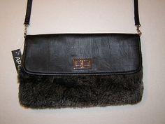 Apt-9-Handbag-Envelope-Style-Faux-Fur-Cross-Body-Purse-Clutch-Fuzzy-Black-Color