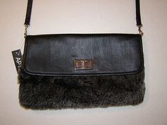 Apt 9 Handbag Envelope Style Faux Fur Cross Body Purse Clutch Fuzzy Black Color